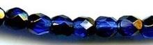 6mm Round Fire Polish Bead, Czech Glass, cobalt/azuro, (100 beads)