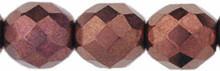 6mm Round Fire Polish Bead, Czech Glass, bronze dark, (100 beads)