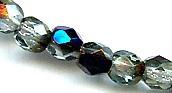 8mm Round Fire Polish Bead, Czech Glass, azuro (1/2 dk blue iris), (50 beads)