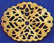 """Oval, Wavy Filigree, Small, 1 1/4"""", gold plate, (6 pieces)"""