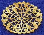 "Oval, Dap'd Filigree, 1 5/8"", gold plate, (6 pieces)"
