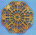 "Round, Wavy Filigree, 1 1/8"", gold plate, (6 pieces)"