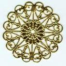 """Round w/Center Hole, Flat Filigree, 1 3/4"""", gold plate, (4 pieces)"""