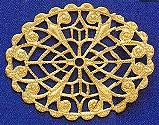 """Oval, Flat Filigree, 1 5/8"""", gold plate, (4 pieces)"""