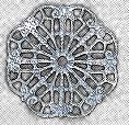 "Round, Wavy Filigree, 1 1/8"", imit. rhodium plate (nickel color), (6 pieces)"