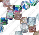 8mm Glass Diagonal Cube Bead, Czech Glass, blue luster, (50 beads)