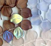 12x15mm Lalique Broad Leaf Bead (horizontal drilled), Czech Glass, rose/peridot matte, (25 beads)