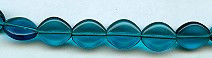 12x10mm Flat Oval Glass Bead, Czech Glass, blue zircon, (25 beads)