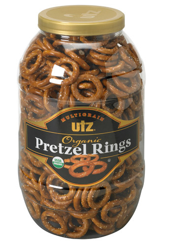 Utz Multigrain Organic Pretzel Rings JUMBO Barrel, 37 oz.