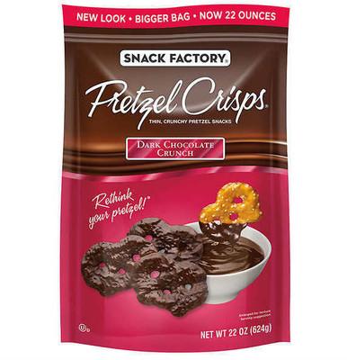 Snack Factory Pretzel Crisps Dark Chocolate Crunch, 22 oz