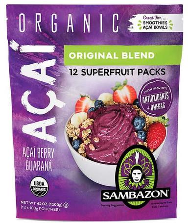 Sambazon Organic Acai Superfruit Packs, 42 oz