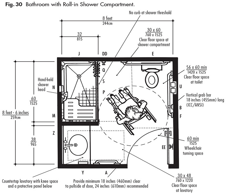 bathroom with rollin shower compartment