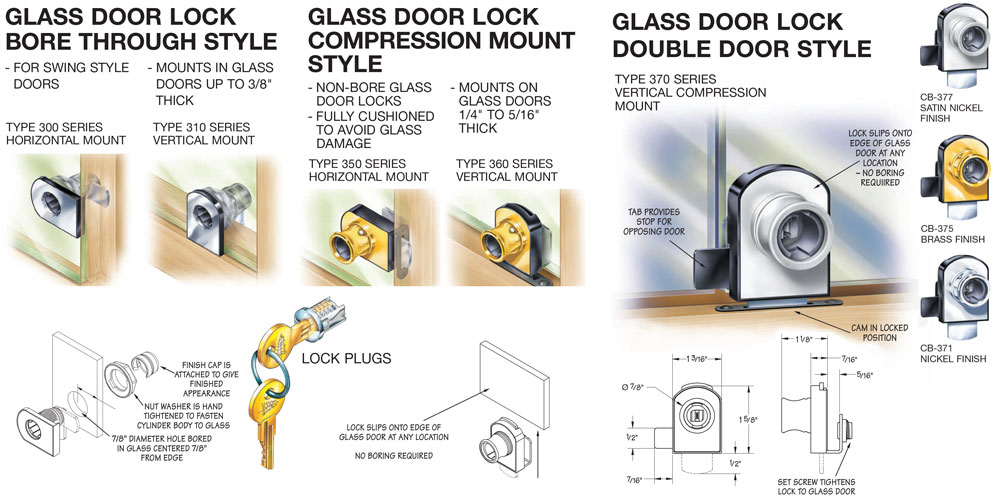 Timberline Glass Door Locks With Or Without Bored Hole