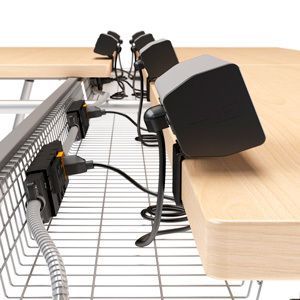 Include relocatable power data outlets in your table, desk, or workstation