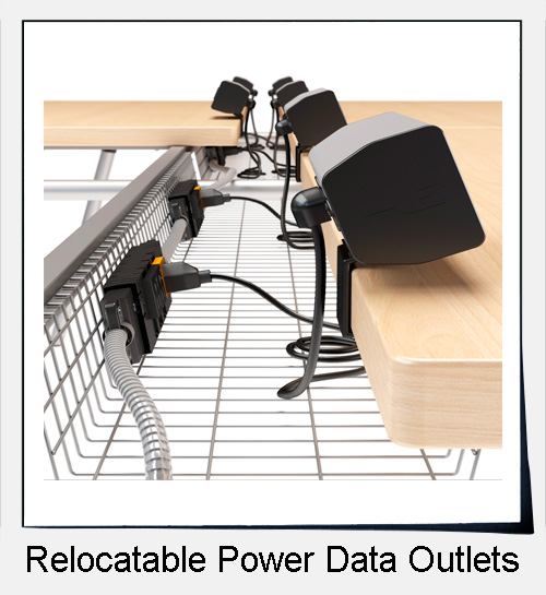 Relocatable power data outlets