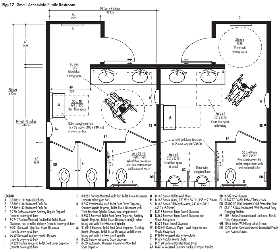 Small or single public restrooms ada guidelines harbor for Commercial bathroom floor plans