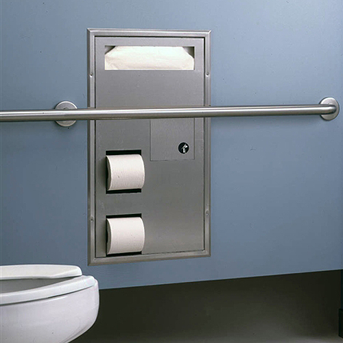 Bobrick classic series seat cover toilet tissue dispenser for Bathroom accessories location