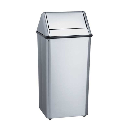 Bradley standard series stainless steel freestanding waste for Commercial bathroom trash cans