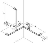 PBA Custom Nylon Corner Grab Bar with Veritcal Shower Head Rail