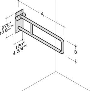 PBA Nylon Fold Up Sidewise Rotating Spatial Grab Bar