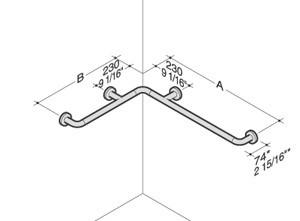 PBA Nylon Horizontal Asymmetric Corner Grab Bar