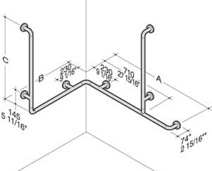 PBA Nylon Horizontal Corner Grab Bar with Two Vertical Shower Head Rails