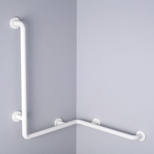 Pba nylon horizontal corner grab bar with verticalshower head rail harbor city supply for Commercial bathroom grab bars