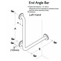 Custom Grab Bar, 90 End Angle Bar, 2 Wall, 3 Flange, Left Hand (CGB-90EAB-2W-3F)