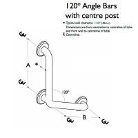 Custom Grab Bar, 120 Angle Bar with Center Post, 1 Wall, 3 Flange (CGB-120ABP-1W-3F)