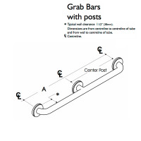 Custom Grab Bar, Straight Bar, 1 Wall, 3 Flange