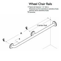Custom Grab Bar, Wheel Chair Rail, 2 Wall, 3 Flange