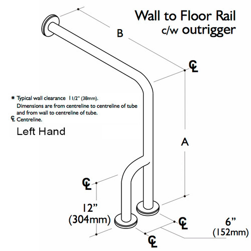 Custom Grab Bar, Wall To Floor Rail With Outrigger, 1 Wall