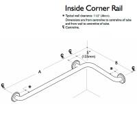 Custom Grab Bar, Inside Corner Rail, 2 Wall, 3 Flange (CGB-ICR-2W-3F)