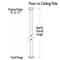 Custom Grab Bar, Floor to Ceiling Pole, 1 Floor, 1 Ceiling, 2 Flange (CGB-FCP-1F-1C-2F)