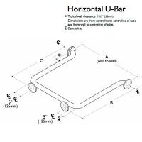 Custom Grab Bar, Horizontal U Bar, 3 Wall, 4 Flange (CGB-HUB-3W-4F)