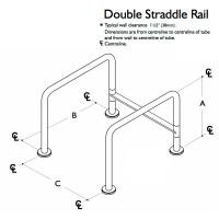 Custom Grab Bar, Double Straddle Rail, 1 Floor, 4 Flange (CGB-DSR-1F-4F)