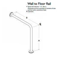 Custom Handrail, Wall to Floor Handrail, 1 Wall, 1 Floor, 2 Flange (CHR-WFHR-1W-1F-2F)
