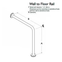Custom Handrail, Wall to Floor Handrail, 1 Wall, 1 Floor, 2 Flange (CHR-WFHR-1W-1F-2F)