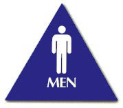 "Cal-Royal 10-1/2"" High Triangle ADA Men's Restroom Sign with Braille"