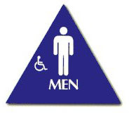 "Cal-Royal 10-1/2"" High Triangle ADA Men's/Handicap Restroom Sign with Braille"