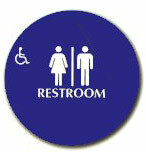 "Cal-Royal 12"" Diameter ADA Unisex/Handicap Restroom Sign with Braille"