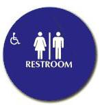 "Cal-Royal 12"" Diameter ADA Unisex/Handicap Restroom Sign with Braille"