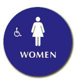 "Cal-Royal 12"" Diameter ADA Women's/Handicap Restroom Sign with Braille"