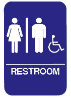 """Cal-Royal 6"""" X 8"""" ADA Unisex/Handicap Restroom Sign with Braille"""