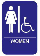 """Cal-Royal 6"""" X 8"""" ADA Women's/Handicap Restroom Sign with Braille"""