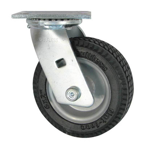 """Rubber 6"""" Caster with Rotating Plate"""