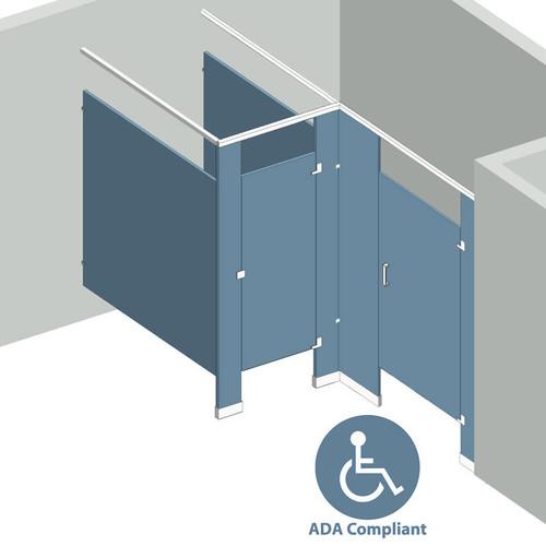Bathroom Partitions 2 Stalls Alcove Right Hand Ada