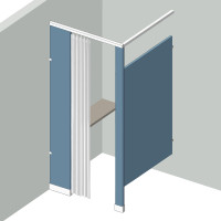 Dressing Compartment - In Corner - Left Hand - 1Stall IC1L - curtain