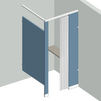 Dressing Compartment - In Corner - Right Hand - 1Stall IC1R - curtain