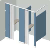 Dressing Compartment - In Corner - Left Hand - 2Stall IC2L - curtain